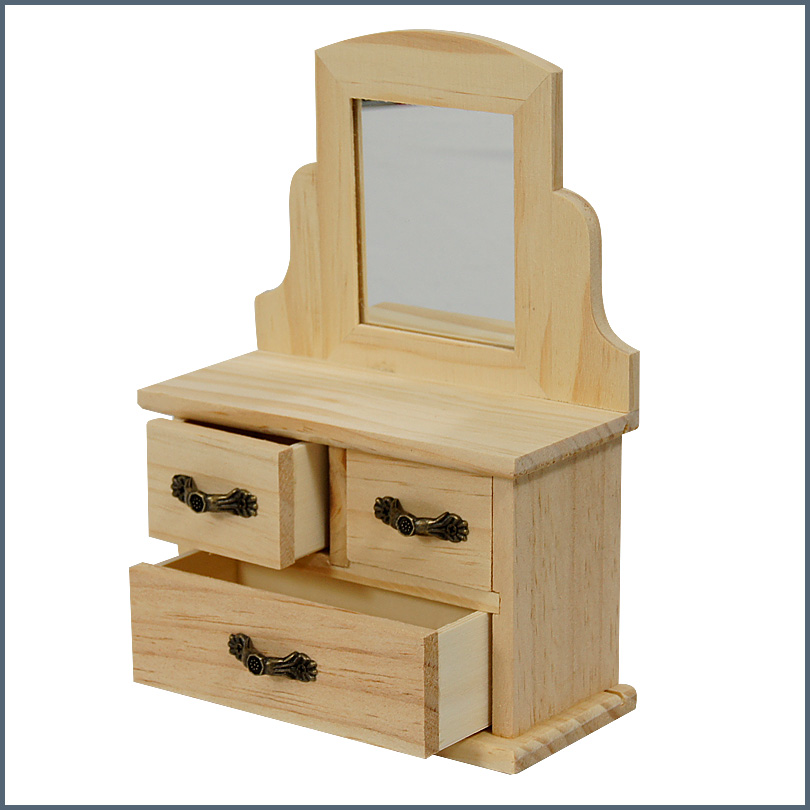 Unfinished Wood Decorable Diy Jewelry Box With Mirror And Drawers